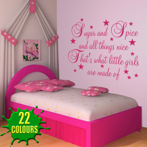 Magenta Sugar & Spice and all things nice Nursery quote beside a bed