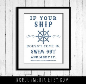 Swim Out to Meet it Nautical Quote - 11x14 typography quote print wall ...