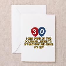 30 year old birthday designs Greeting Cards (Pk of for