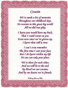 Love You Cousin Poems | To order and personalize the poem above with ...