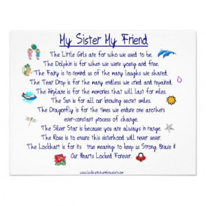 MY SISTER My Friend poem with graphics Announcement | Zazzle.co.uk