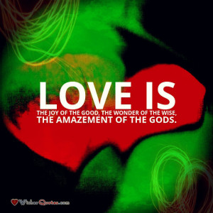 Love is the joy of the good, the wonder of the wise, the amazement of ...