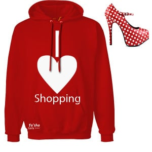 love shopping- red, white