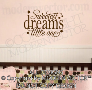 ... DREAMS Little One Quote Vinyl Wall Decal Lettering Nursery Girls Boys