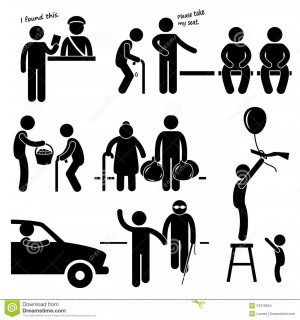 set of pictograms representing a kind man helping people in need.