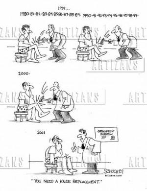 knee replacement cartoon