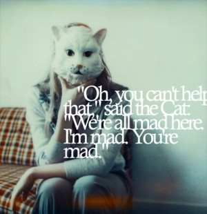 cat, cheshire cat, mad, mask, quote, wonderland - inspiring picture on ...