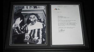 Willard Scott Ronald McDonald Signed Framed 2006 Letter & Photo ...