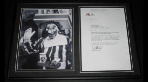 Willard Scott Ronald McDonald Signed Framed 2006 Letter & Photo ...