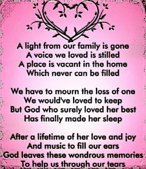 ... passed shortly after and my heart still breaks. I Love You Mom and