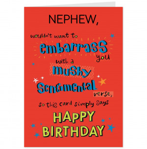 Funny Nephew Birthday Card-Hallmark UK