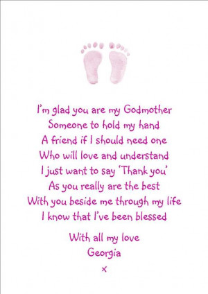 Details about Personalised A5 Godmother Poem Canvas - perfect gift.