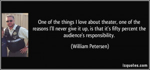things I love about theater, one of the reasons I'll never give it up ...