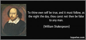 To thine own self be true, and it must follow, as the night the day ...