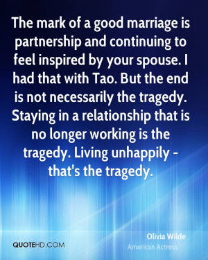 The mark of a good marriage is partnership and continuing to feel ...