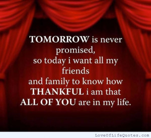 Tomorrow I never promised..
