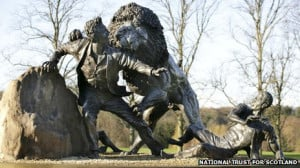 statue in the grounds of the David Livingstone Centre helps portray ...