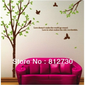 House-Nursery-Room-Home-Workplace-Green-Tree-Wall-Decor-Decals-Sticker ...