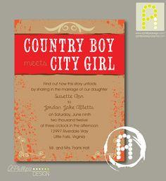 Country Boy Meets City Girl Wedding Invitation PRINTABLE