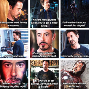 Tony Stark quotes (The Avengers) I kinda hate that is was so off ...