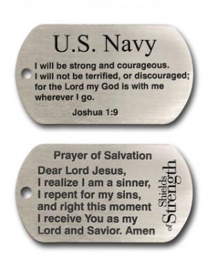 Navy Dog Tag Inspirational Scripture Necklace