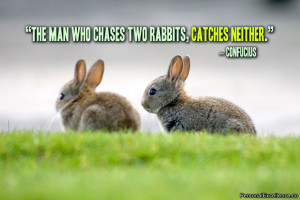 """The man who chases two rabbits, catches neither."""" ~ Confucius ..."""