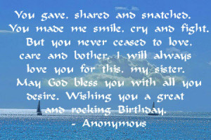 Sister Birthday Quotes – You gave, shared and snatched. You