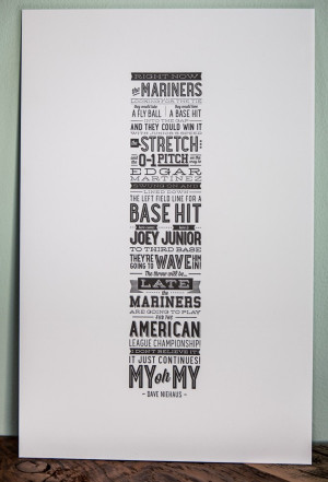 Letterpress Quote Poster Seattle Mariners