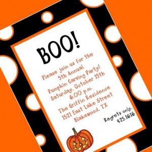 Digital Printable BOO Invitation, Halloween Party Invitation, Custom ...