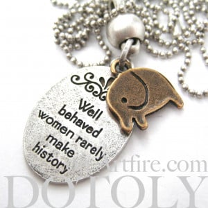 Elephant Cute Animal Round Pendant Necklace in Silver with Quote ...