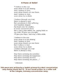 Poem written by a Jewish prisoner in a concentration camp during ...