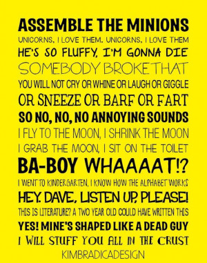 Despicable Me Quotes Subway Art 11x14 Digital by KimBradicaDesign, $20 ...