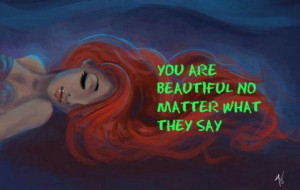 The Little Mermaid with inspiring quote