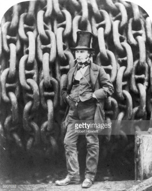 English engineer and inventor Isambard Kingdom Brunel standing in ...