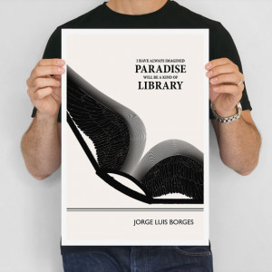Literary Quote Print, Jorge Luis Borges Art Poster, Illustration Black ...