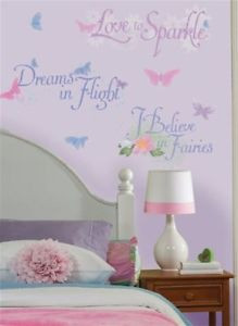 -FAIRIES-Wall-Stickers-TINKERBELL-Room-Decor-Quotes-GLITTERY-FAIRY ...