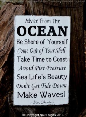 Sayings On Wood - Ocean Rules - Beach House Decor - Nautical Theme ...