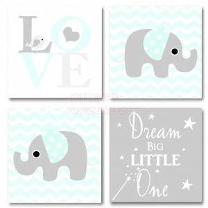 FRAMED CANVAS PRINT LOVE 4 piece set cute elephant bird inspirational ...