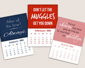 2014 Printable Calendar - Harry Potter Quotes - Instant Download
