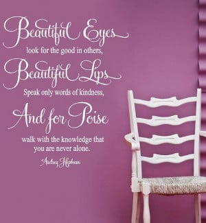 Hepburn- For Beautiful Eyes- Vinyl Lettering wall art words quotes ...
