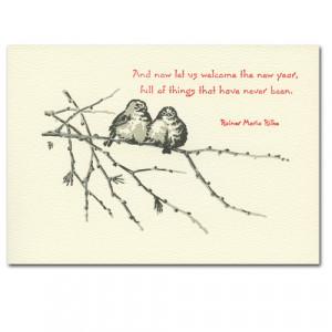... hand typeset birds on branch with Rainer Maria Rilke quote