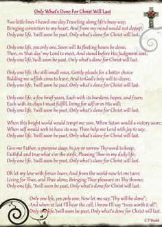 Only What's Done For Christ Will Last...CT Studd poem