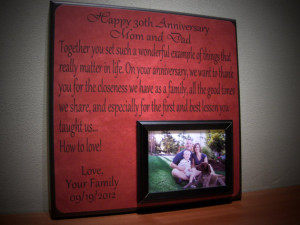 Anniversary Picture Frame Gift, 40th Anniversary, 30th Anniversary ...