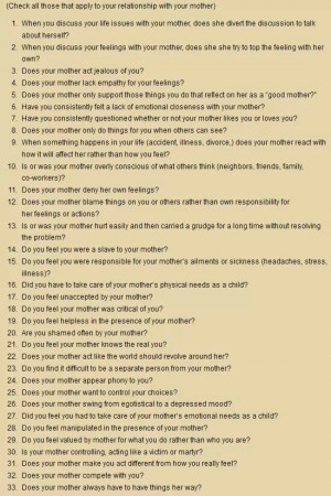 Children of a narcissistic mother checklist