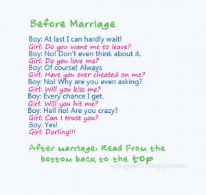 Before marriage, after marriage