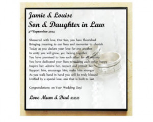... . Wedding Poem Gift. Son and Daughter in Law. Complete with Stand