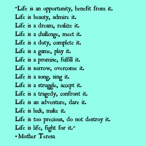 Mother Teresa's Beautiful Thoughts On Life!