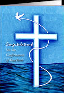 Congratulations on Confirmation for a Godson, White Dove and Cross ...