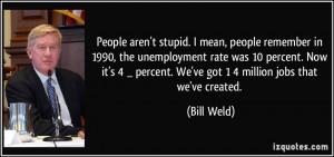 ... percent. We've got 1/4 million jobs that we've created. - Bill Weld