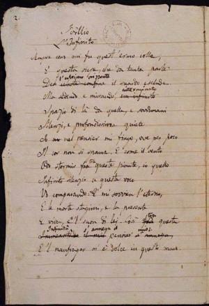 Società Dante Alighieri L'INFINITO di Giacomo Leopardi (manoscritto ...